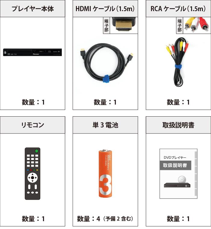 パイオニア DVDプレーヤー DV-220V 付属品の一覧