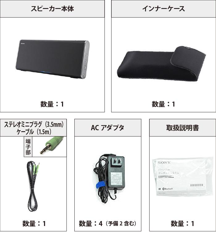 ソニー ポータブルスピーカー SRS-BTX500 付属品の一覧