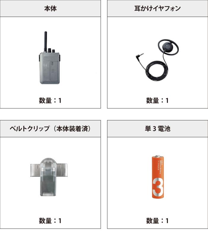 TOA ワイヤレスガイド受信機 付属品の一覧
