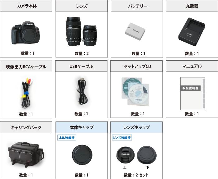 Canon EOS Kiss X5 付属品の一覧