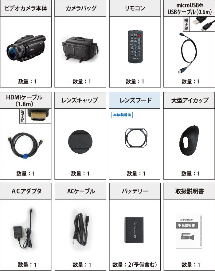 SONY FDR-AX700(※録画には別途メモリーカードが必要となります) 付属品の一覧