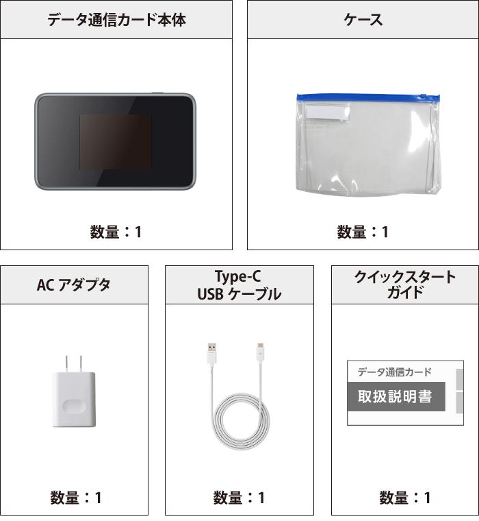 SoftBank ポケットWi-Fi LTE 4G 802ZT (定額制:5GB/月) 付属品の一覧