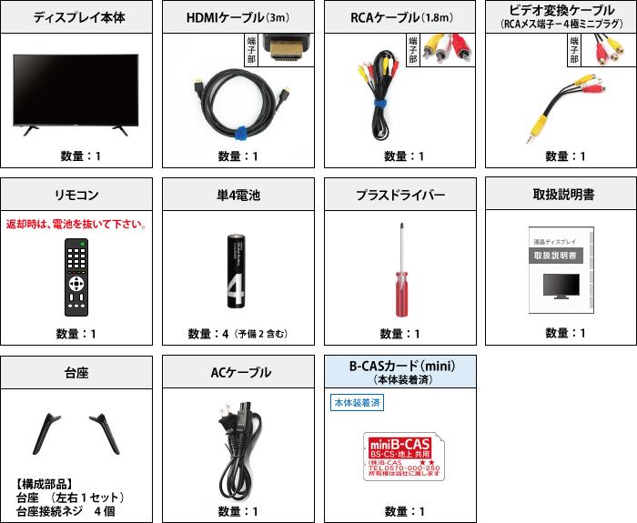 ハイセンス 32型液晶テレビ HJ32K3120 付属品の一覧