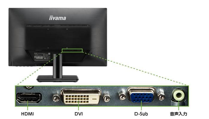 iiyama 21.5型 LED液晶PCモニターXU2290HS(背面)