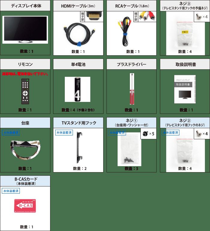 SONY 55型 液晶ディスプレイKDL-55W900A+スティックPC ※10営業日前手配完了必須 付属品の一覧