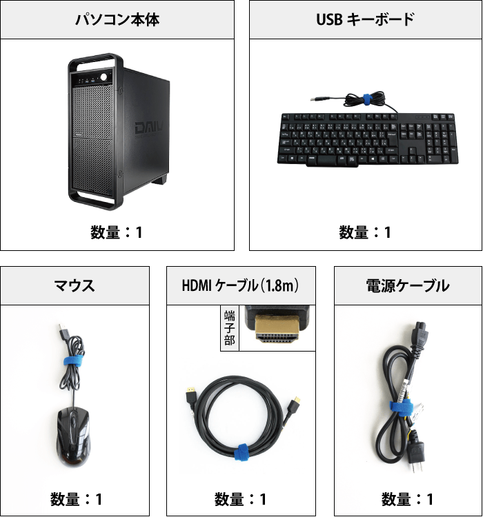 マウスコンピューター DAIV-DGX750H2-M2SH5 付属品の一覧