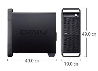 マウスコンピューター DAIV-DGX761H1-M2S2 (i9/メモリ32GB/RTX2070) サイズ
