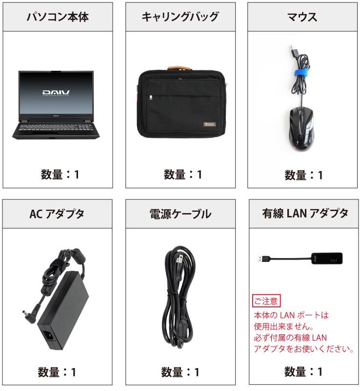マウスコンピューター DAIV-5N 付属品の一覧