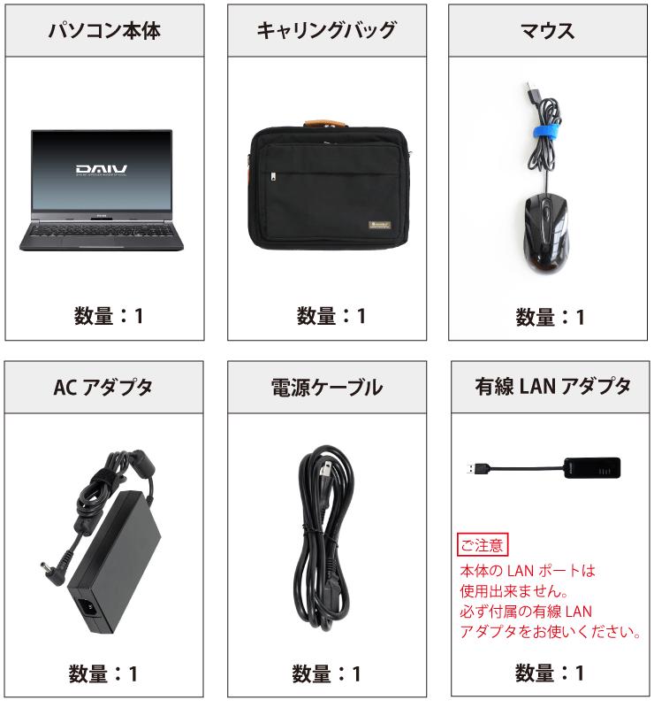 マウスコンピューター DAIV-5N(第2世代) 付属品の一覧