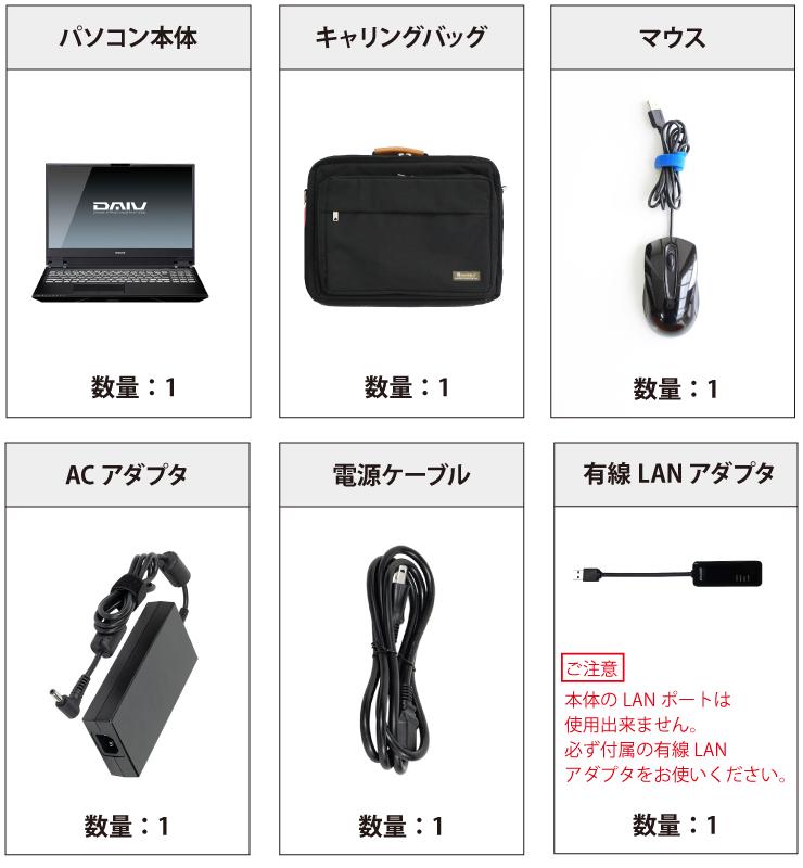 マウスコンピューター DAIV-5N-OLED(有機EL) 付属品の一覧