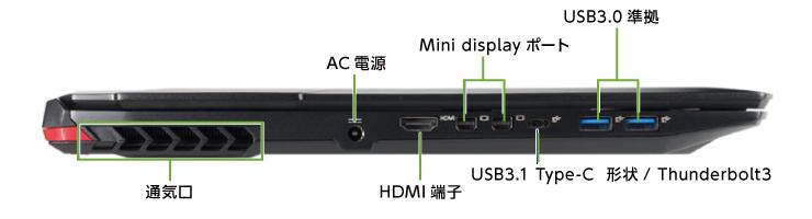 マウスコンピューター NG7500E1-SH2【マンスリーレンタル】 (左側)