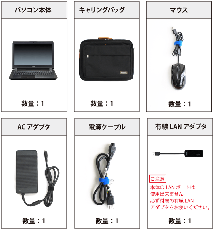 マウスコンピューター NG7500E1-SH2【特価キャンペーン】 付属品の一覧