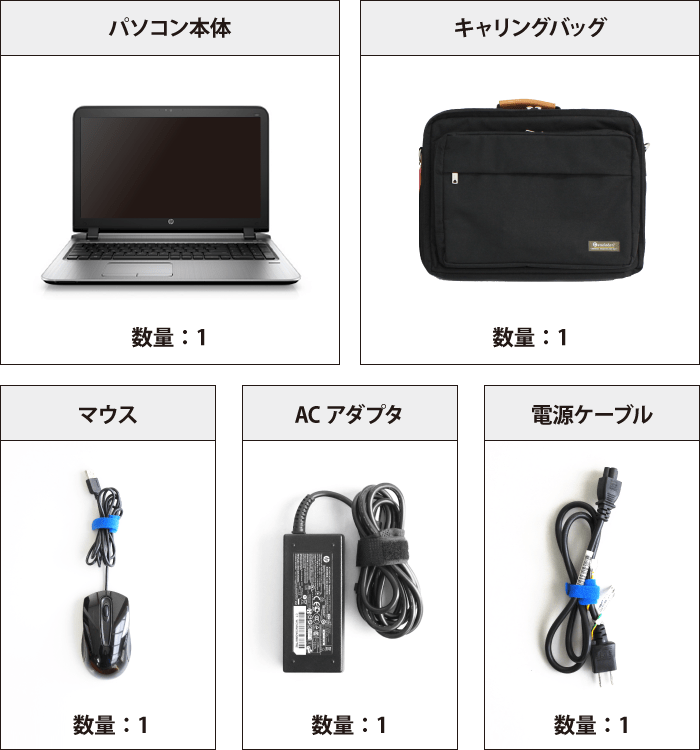 HP ProBook 450 G3(メモリ16GB/SSDモデル) 付属品の一覧