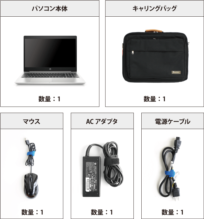 HP ProBook 450G6(メモリ16GB/256GB SSDモデル) 付属品の一覧