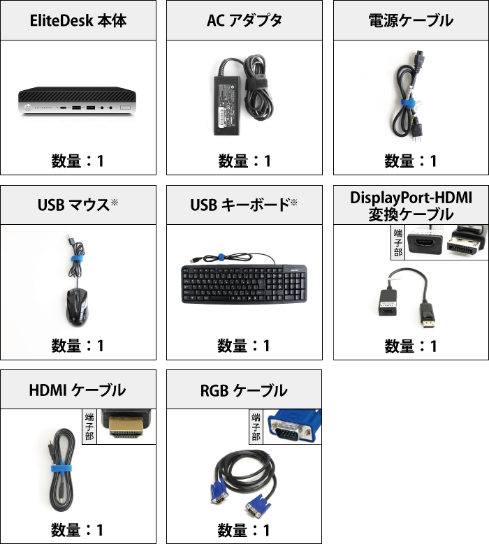 HP EliteDesk 800 G4 (i5/SSDモデル) キーボード・マウスセット 付属品の一覧