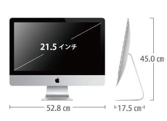iMac 21.5インチ MD093J/A サイズ