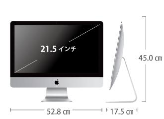 iMac 21.5インチ MNDY2J/A サイズ