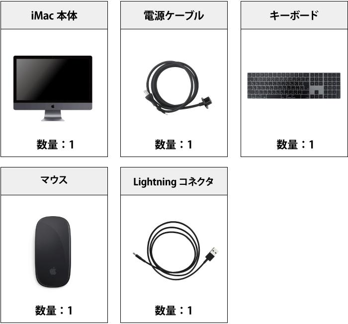 iMac Pro 27インチ Z0UR 付属品の一覧