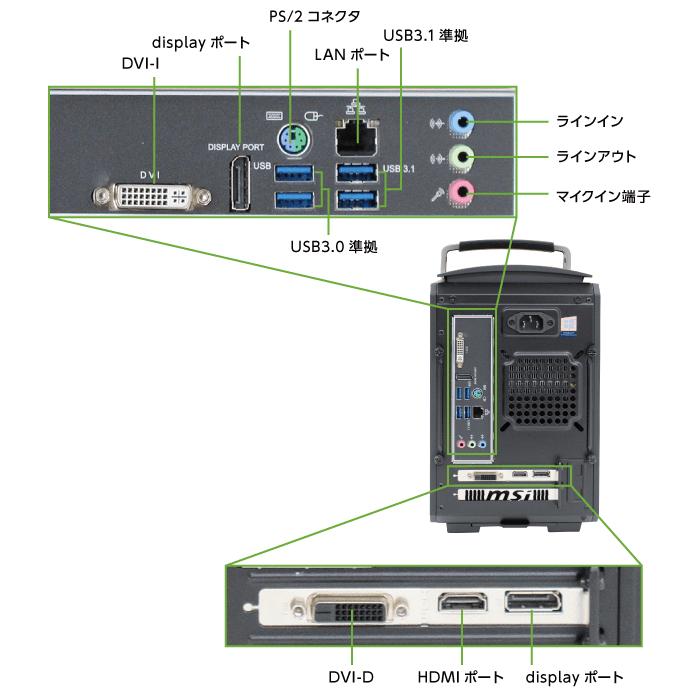 マウスコンピューター LITTLEGEAR i330BA1-MD【マンスリーレンタル】(背面)