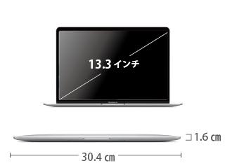 MacBook Air 13インチ MVH42J/A サイズ
