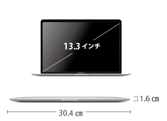 MacBook Air 13インチ Z128 サイズ