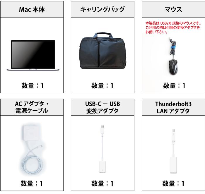 MacBook Pro Retina 15インチ MR962J/A 付属品の一覧