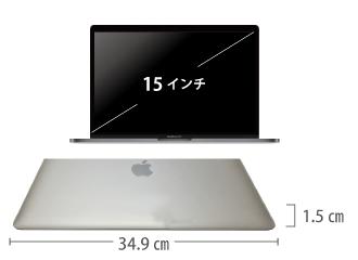 MacBook Pro Retina 15インチ MLW72J/A サイズ