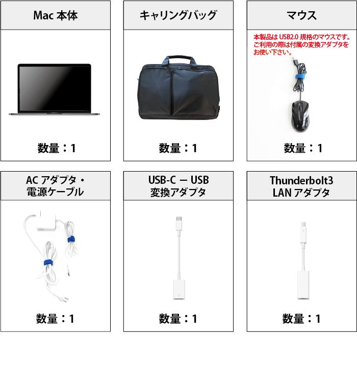 MacBook Pro Retina 15インチ Z0V2【i9】 付属品の一覧