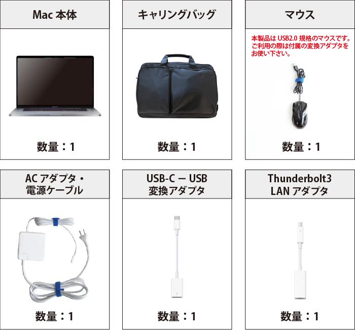 MacBook Pro Retina 16インチ MVVL2J/A 付属品の一覧