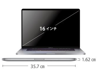 MacBook Pro Retina 16インチ MVVL2J/A サイズ