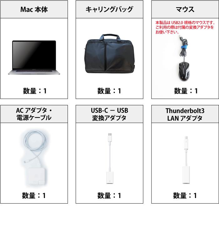 MacBook Pro Retina 16インチ Z0Y3 付属品の一覧