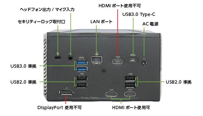 マウスコンピューター NEXTGEAR-C ic100GA2(背面)