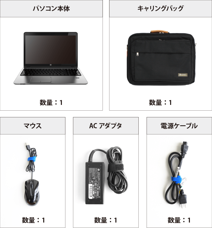 Core i5(CPU第7世代・メモリ8GB)HDDモデル【Office Std 2016】 付属品の一覧