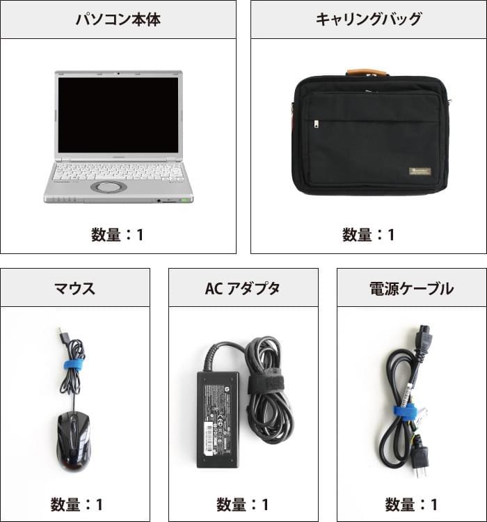 Panasonic レッツノート CF-SZ6 (メモリ4GB/SSD 250GBモデル) 付属品の一覧