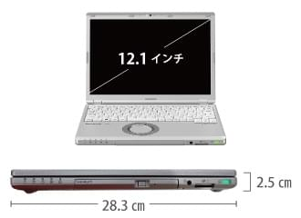 Panasonic  レッツノート CF-SZ6 (メモリ8GB/SSD 256GBモデル) サイズ