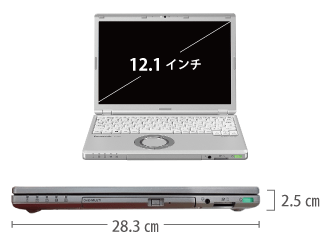 Panasonic レッツノート CF-SZ6BFBVS SIMフリー サイズ