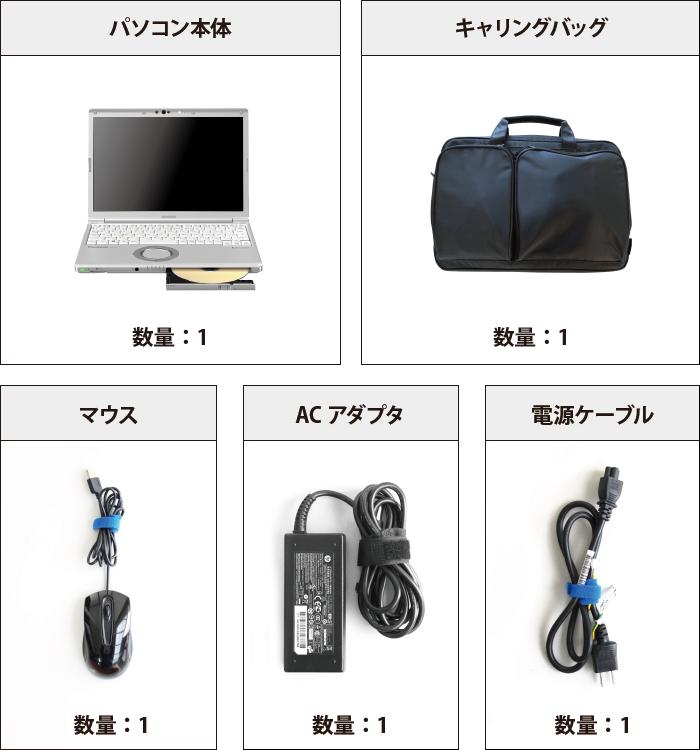 Panasonic レッツノート CF-SV7HD4VS (メモリ8GB/SSD 256Bモデル) 付属品の一覧