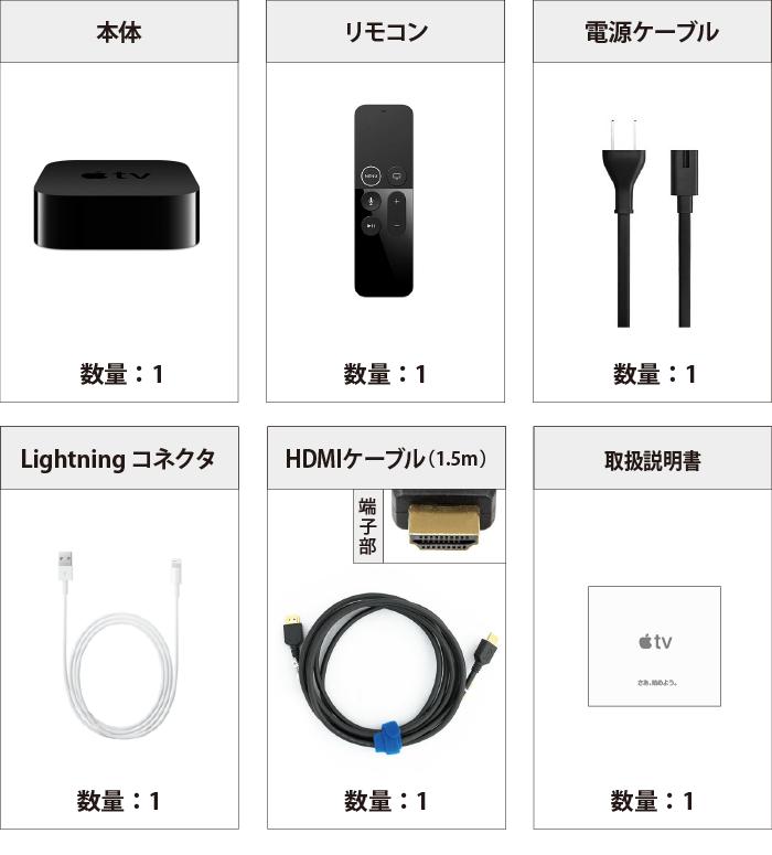 AppleTV 4K MQD22J/A 付属品の一覧
