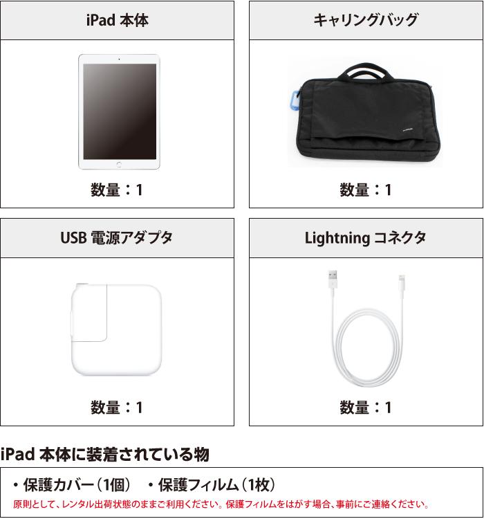 iPad 第6世代 9.7インチ 32GB Wi-Fi 付属品の一覧