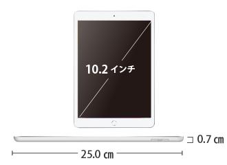 iPad 第7世代 10.2インチ 32GB SIMカードセット(容量20GB/月) サイズ