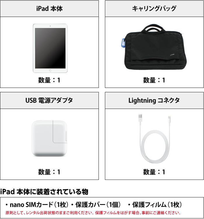 iPad 第6世代 9.7インチ 32GB SIMカードセット(容量20GB/月) 付属品の一覧