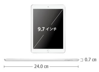 iPad 第6世代 9.7インチ 32GB SIMカードセット(容量20GB/月) サイズ