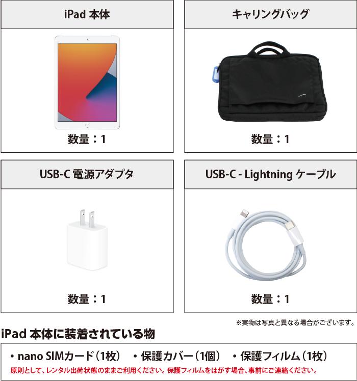 iPad 第8世代 10.2インチ 32GB SIMカードセット(容量20GB/月) 付属品の一覧