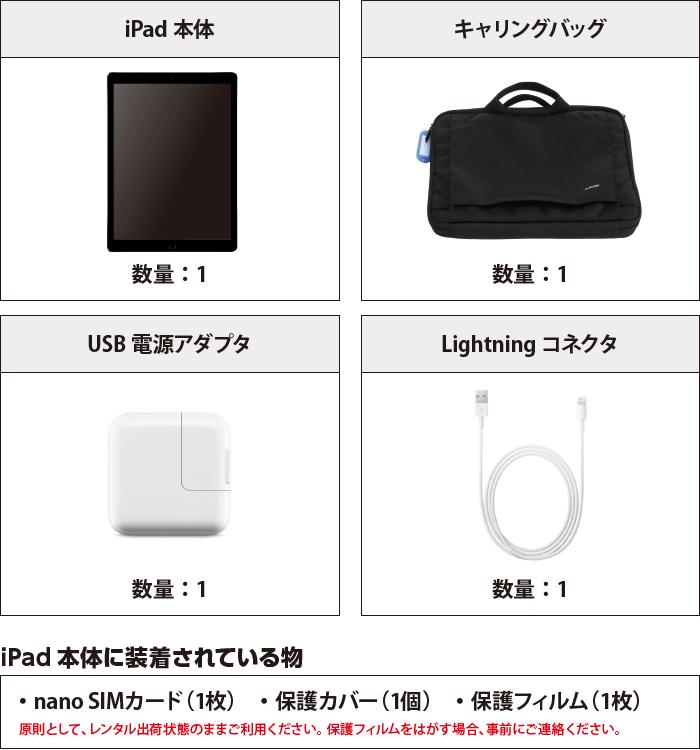 iPad Pro 第2世代 12.9インチ 64GB  SIMカードセット(容量20GB/月) 付属品の一覧