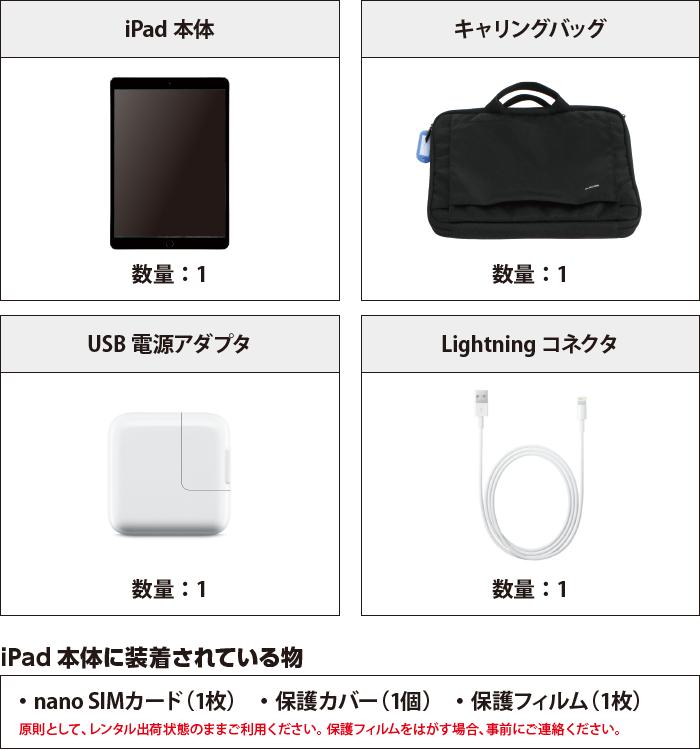 iPad Pro 10.5インチ 64GB SIMカードセット(容量20GB/月) 付属品の一覧