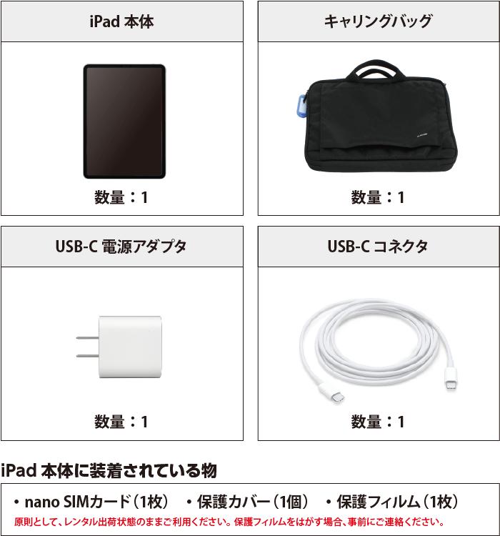 iPad Pro 11インチ 256GB SIMカードセット(容量20GB/2月) 付属品の一覧
