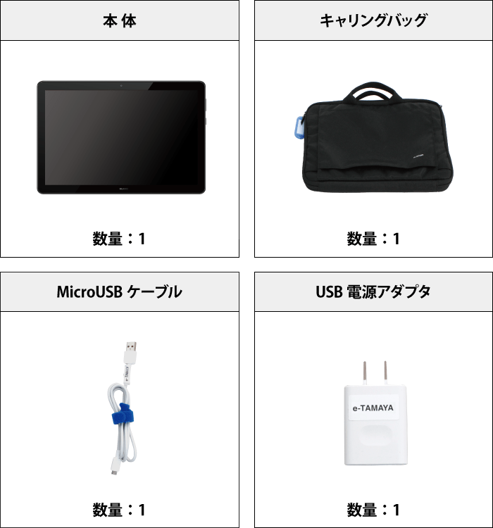MediaPad T5 Wi-Fiモデル 付属品の一覧
