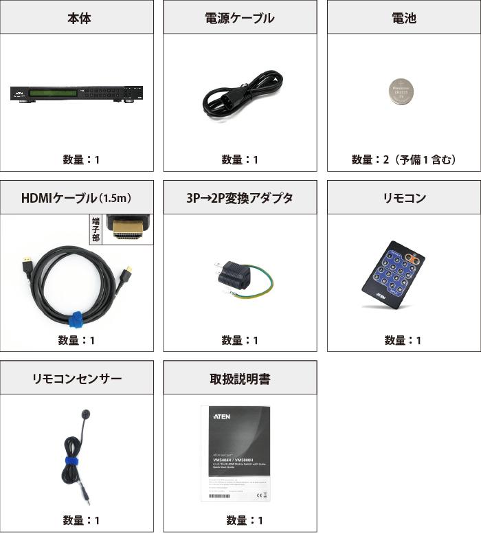 マトリックススイッチャー ATEN VM5808H 付属品の一覧