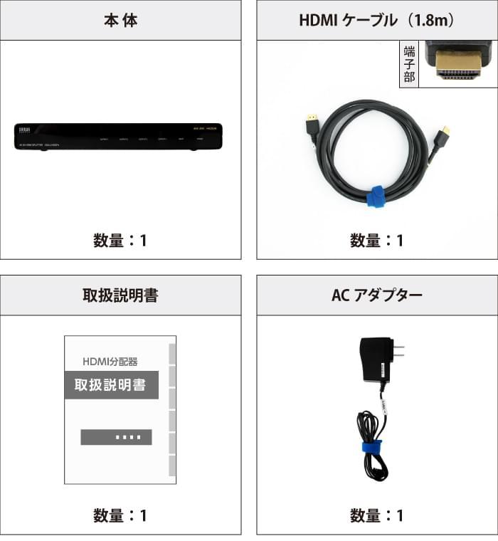 HDMI分配器 サンワサプライ VGA-UHDSP4 付属品の一覧