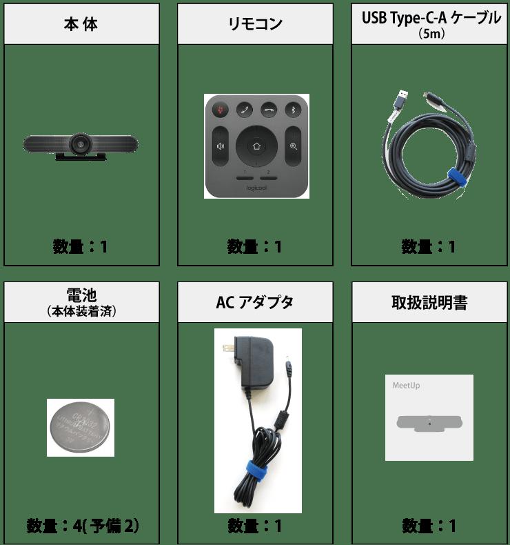 ロジクール MEETUP(Web会議用カメラ付マイクスピーカーフォン) 付属品の一覧